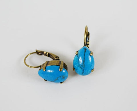 Turquoise Blue Earrings - Medium Teardrop