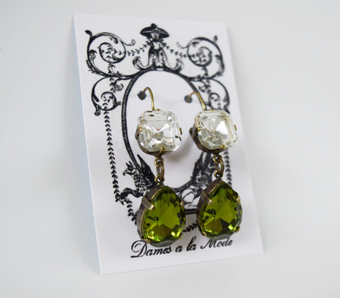 Olive Green and Crystal Teardrop Earrings