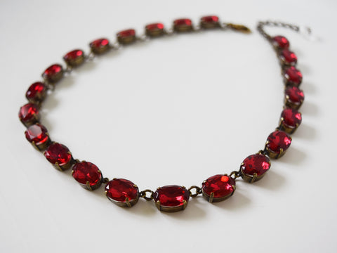 Raspberry Pink Crystal Collet Necklace - Medium Oval