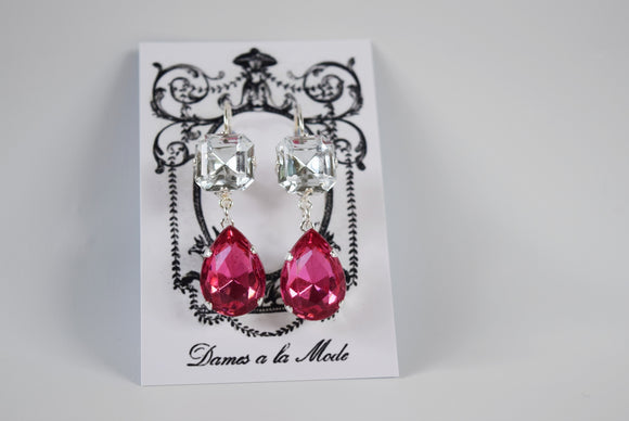 Fuchsia Pink and Crystal Teardrop Earrings