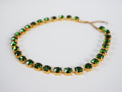 Green Tourmaline Swarovski Collet Necklace - Small Round