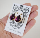 Amethyst Purple Swarovski Teardrop Earring