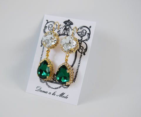 Emerald Teardrop Crystal Halo Earrings - Two Stone