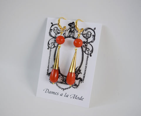 Coral Double Teardrop Earrings