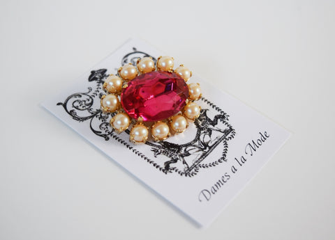 Pink Topaz and Pearl Crystal Cluster Brooch