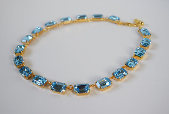 Aquamarine Blue Swarovski Collet Necklace - Medium Octagon
