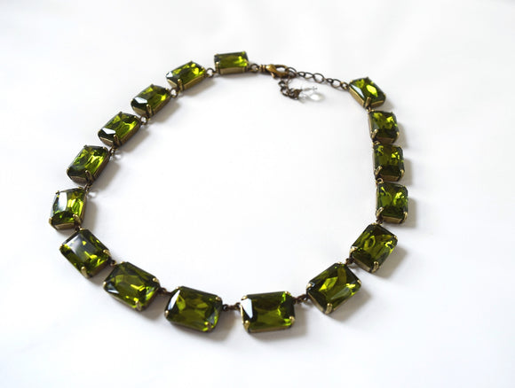 Olive Green Crystal Collet Necklace - Large Octagon
