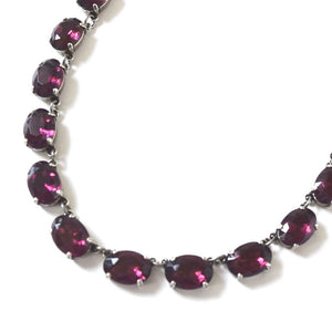 Amethyst Purple Crystal Collet Necklace - Medium Oval