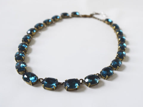 Montana Sapphire Navy Crystal Collet Necklace - Medium Oval