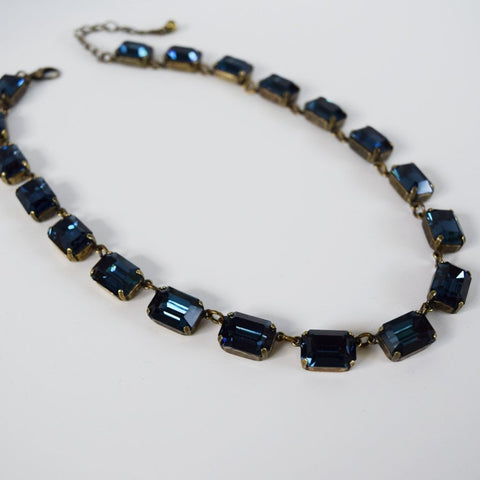 Dark Blue Swarovski Collet Necklace - Medium Octagon