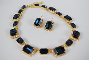 Navy Blue Swarovski Crystal Octagon Halo Necklace