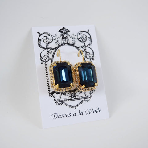 Navy Blue Swarovski Halo Crystal Earrings