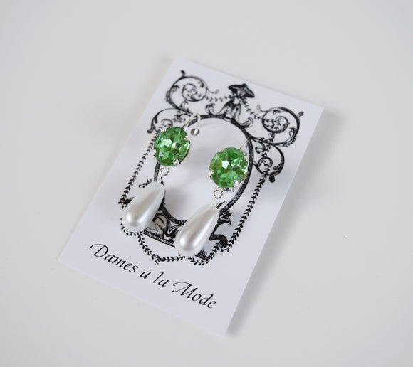Peridot Green Crystal and Pearl Earrings