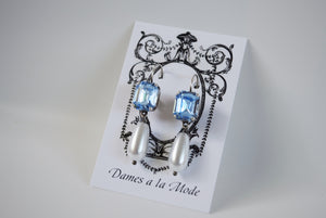 Light Blue Crystal and Pearl Earrings