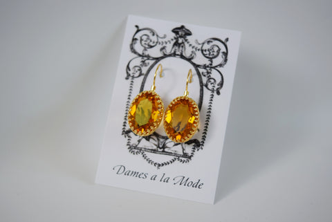 Citrine Swarovski Crystal Crown Earrings
