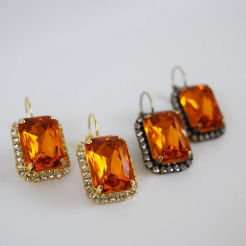 Orange Topaz Halo Crystal Earrings