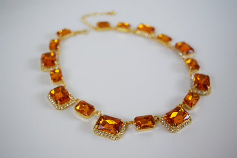 Orange Crystal Octagon Halo Necklace