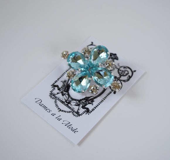 Aquamarine Teardrop Brooch