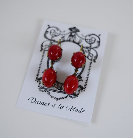 Red Coral Glass Dangles