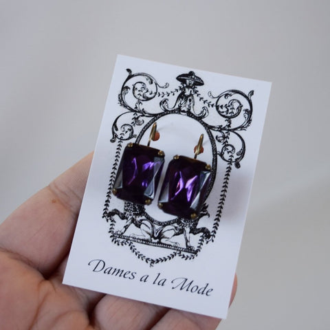 Dark Purple Crystal Earrings - Large Octagon