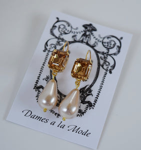 Colorado Topaz Crystal and Pearl Dangles