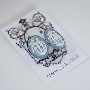 Cameo Earrings - Blue and White Three Graces - Large