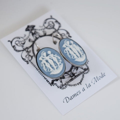 Cameo Earrings - Blue and White Three Graces