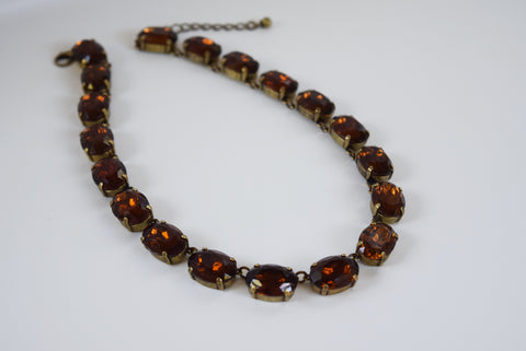 Brown Topaz Crystal Collet Necklace - Large Oval