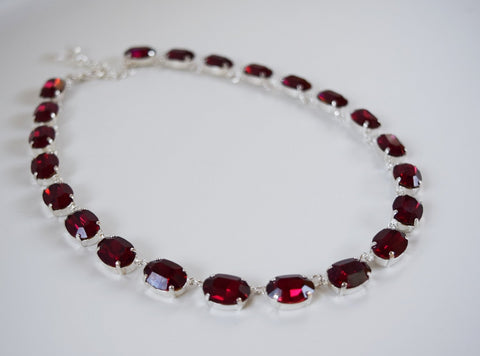 Dark Pink Swarovski Crystal Necklace - Medium Oval