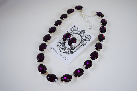 Amethyst Swarovski Crystal Collet Necklace - Large Oval