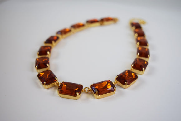 Madeira Topaz Collet Necklace - Large Octagon