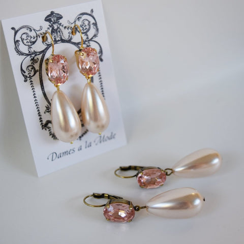 Blush Pink Crystal and Pearl Dangles - Medium Oval Stones, Large Pearls