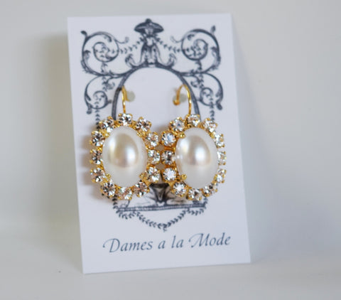 Pearl and Crystal Cluster Earrings - Large Oval