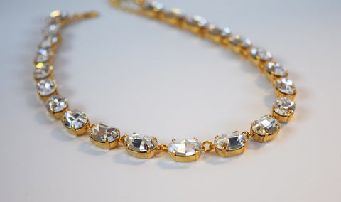 Clear Swarovski Crystal Necklace - Medium Oval