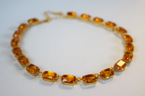 Light Orange Collet Necklace - Medium Octagon