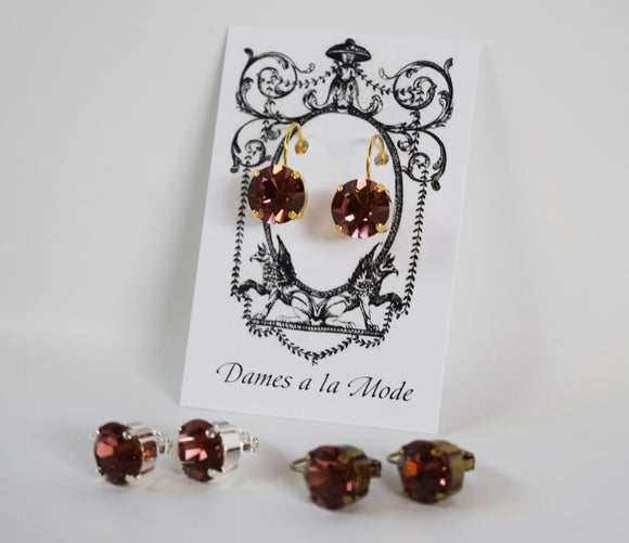 Burgundy Swarovski Crystal Earrings - Small Round