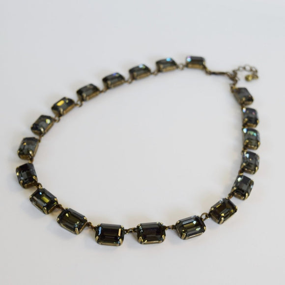 Dark Grey Swarovski Collet Necklace - Medium Octagon