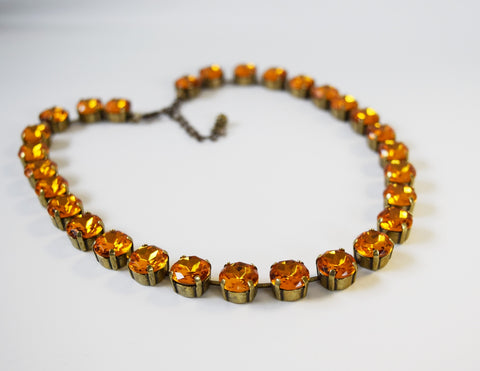 Orange Topaz Collet Necklace | Crystal Riviere Necklace - Small Round