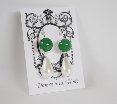 Green Glass Jade and Pearl Earrings