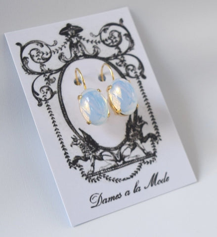 Moonstone Earrings - Medium Oval
