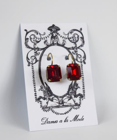 Garnet Red Swarovski Crystal Earrings - Small Octagon