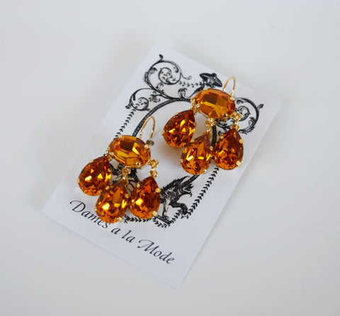 Girandole Earrings - Large Pear Swarovski Orange Topaz