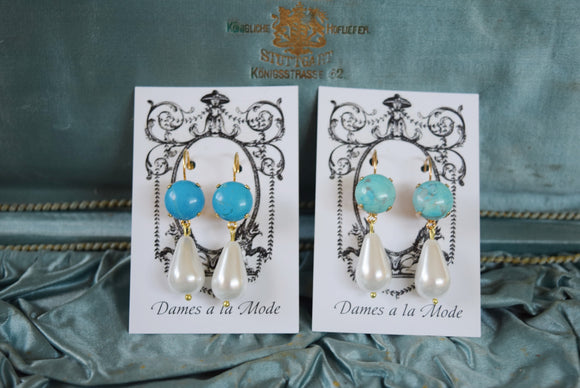 Faux Turquoise and Pearl Dangles - Round