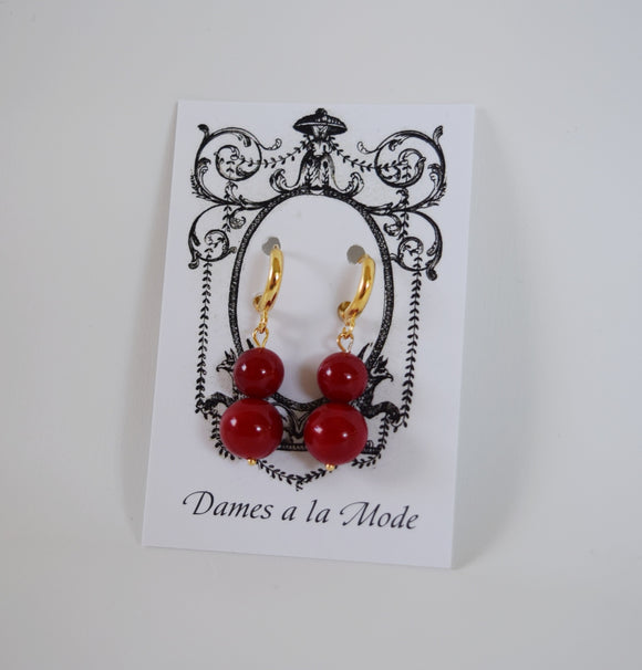 Red Coral Shell Pearl Ball Earrings