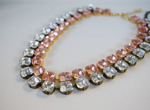 Pink and Clear Crystal Collet Necklaces - Medium Square