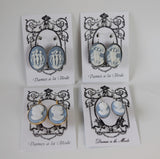 Blue and White Cameo Earrings