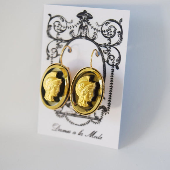 Gold Cameo Warrior Earrings