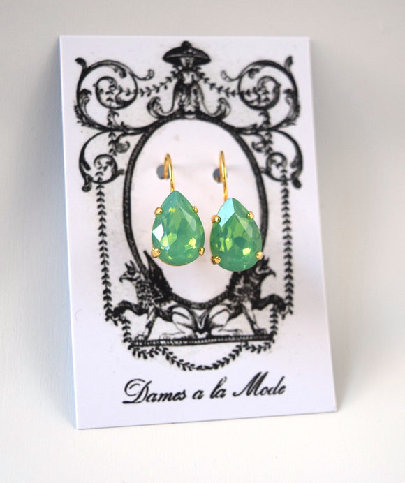 Green Opal Teardrop Earrings - Medium Teardrop