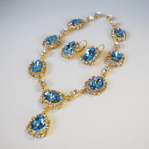 Large Swarovski Aquamarine Blue Halo Necklace with Teardrop
