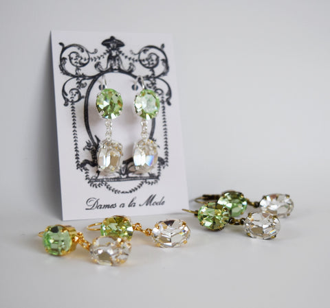 Mint Green and Clear Swarovski Crystal 2-stone earrings